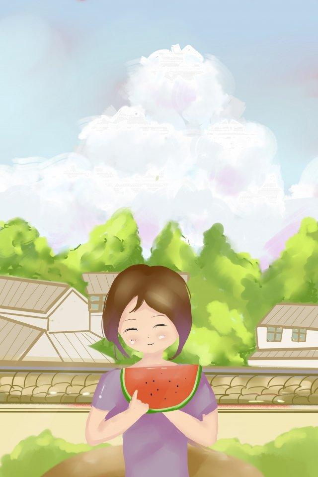 卡通清爽夏季日本 插畫素材
