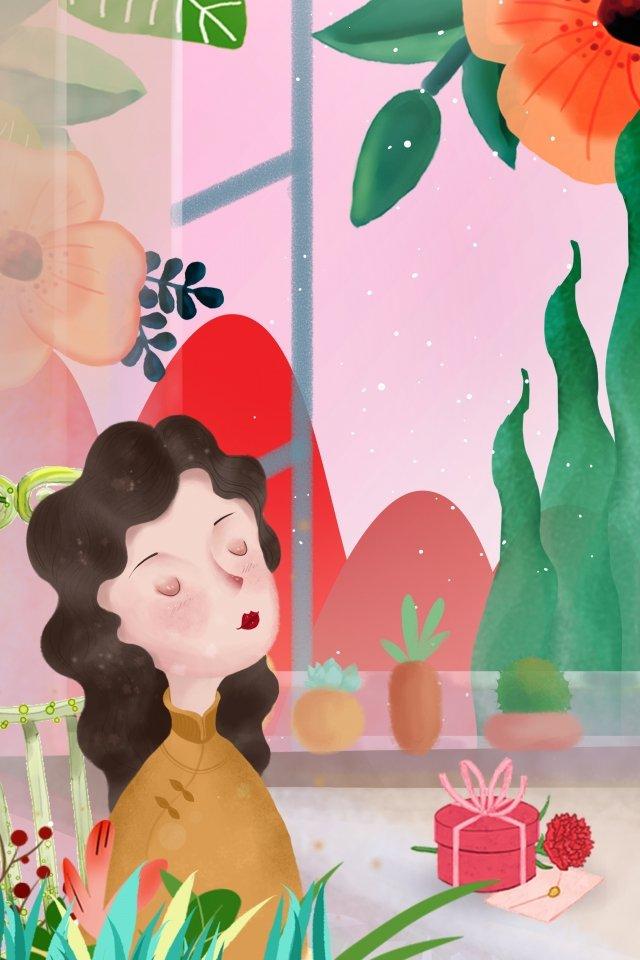 卡通復古母親節插畫廣告 卡通 復古 母親節 插畫 文藝 簡約 廣告卡通  復古  母親節PNG和PSD圖片素材 illustration image