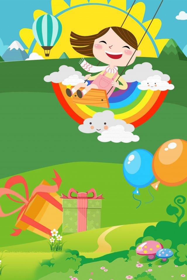 漫画6人の子供の日の祭り子供、女の子、スイング、再生、幸せです、イラスト、虹、ギフト、太陽、草原、青い空、子供っぽい、漫画、6人の子供の日、祭り PNGおよびPSD イラスト画像