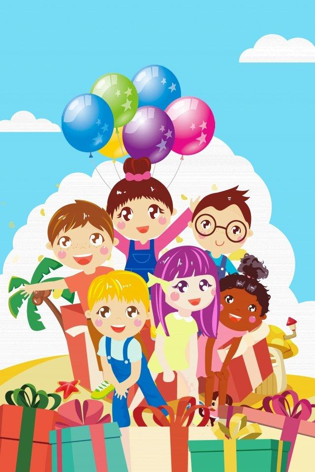 cartoon six one childrens day festival llustration image