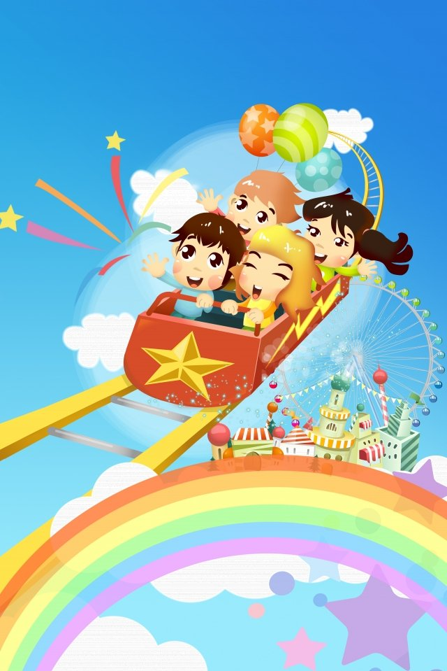 cartoon six one childrens day festival llustration image