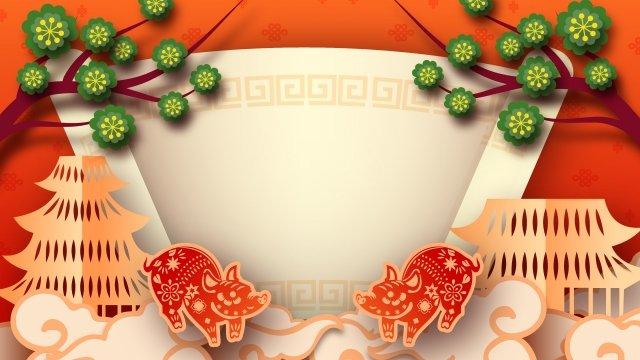 漫画春祭り新年中国風 イラスト素材 イラスト画像