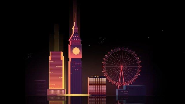 cartoon united kingdom london city, Night View, Big Ben, Ferris Wheel illustration image