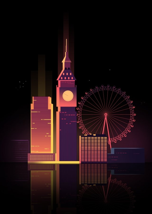 cartoon united kingdom london city, Night View, Big Ben, Ferris Wheel illustration image