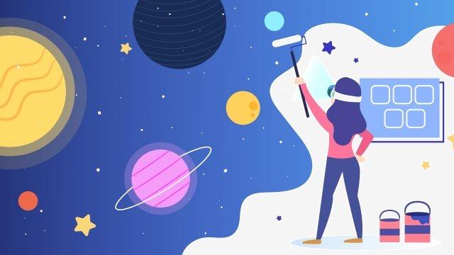 만화 가상 현실 우주 삽화 소재