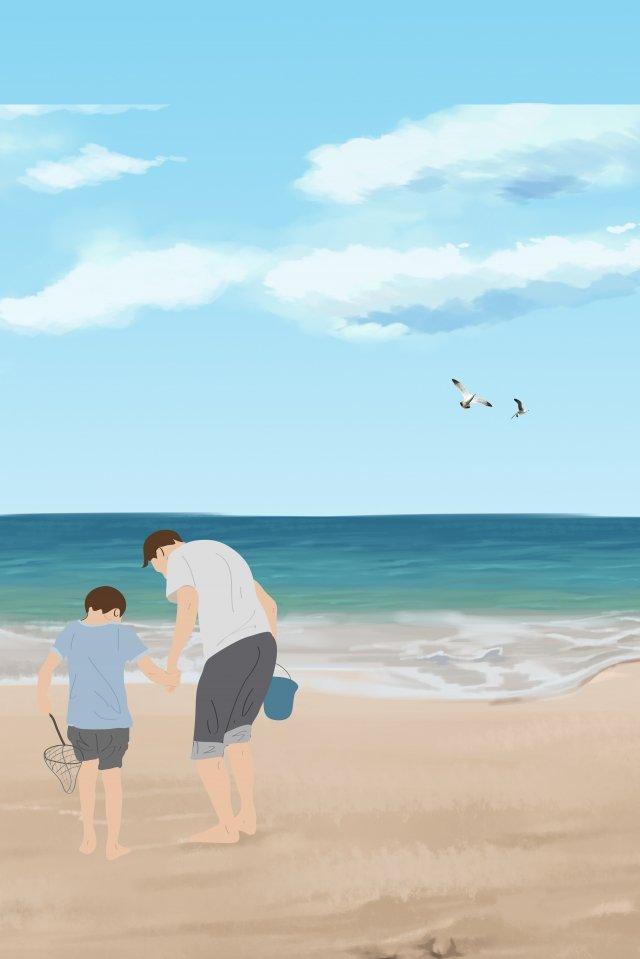 漫画暖かい父親の日幸せな父親の日 イラスト画像