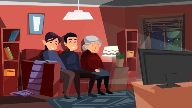 cartoon watch tv see the spring festival evening family reunion llustration image illustration image