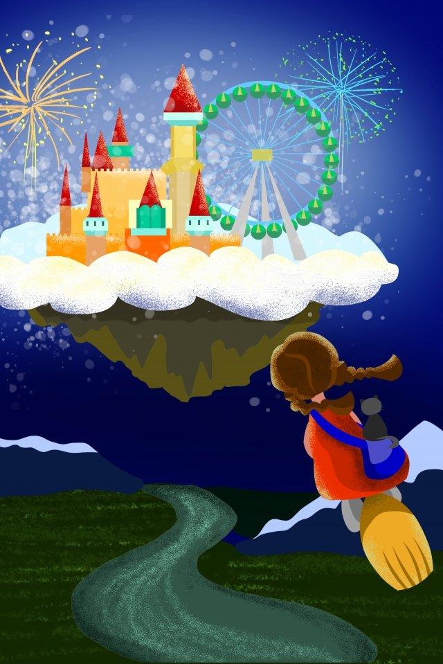 castle amusement park little witch ferris wheel llustration image