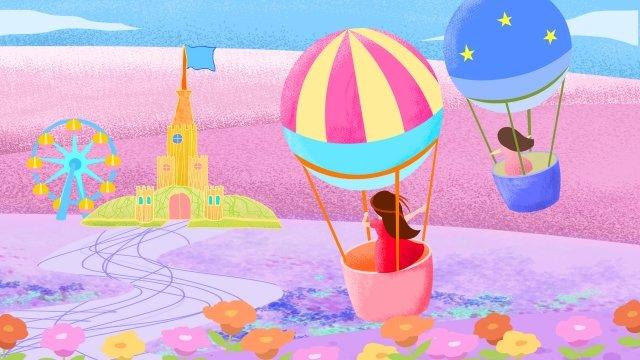城観覧車遊園地熱気球 イラスト素材