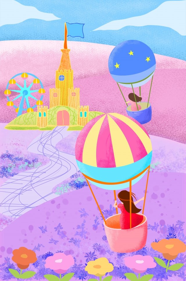 城観覧車遊園地熱気球 イラスト画像