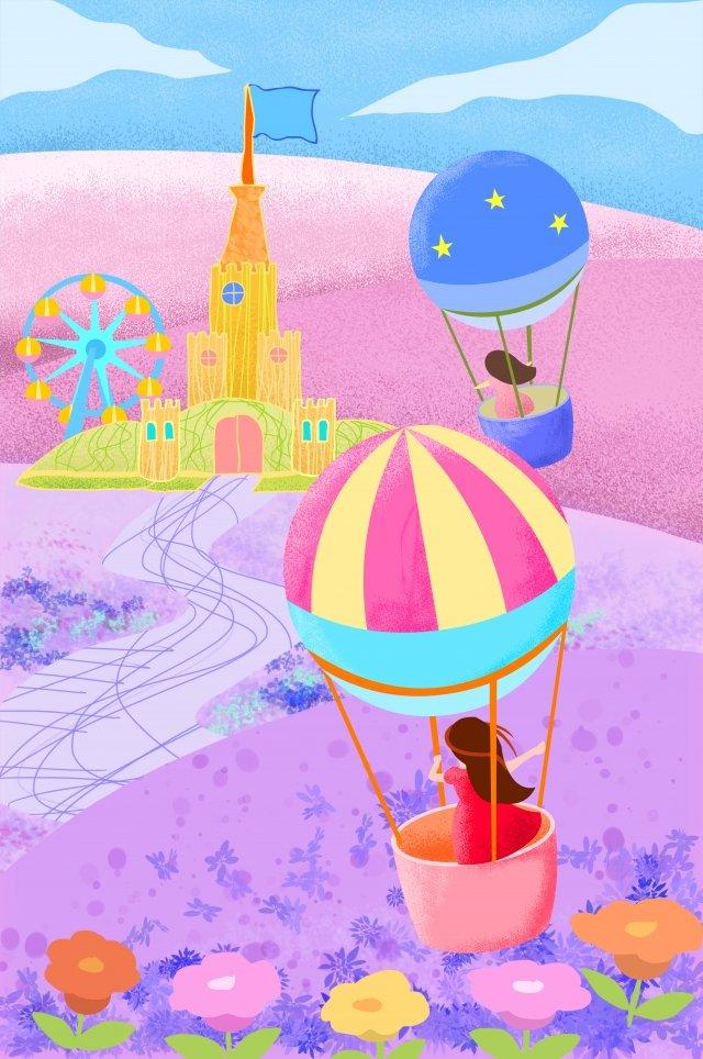 castle ferris wheel amusement park hot air balloon llustration image illustration image