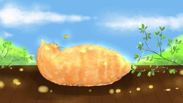 貓動物下午去睡覺 插畫素材 插畫圖片