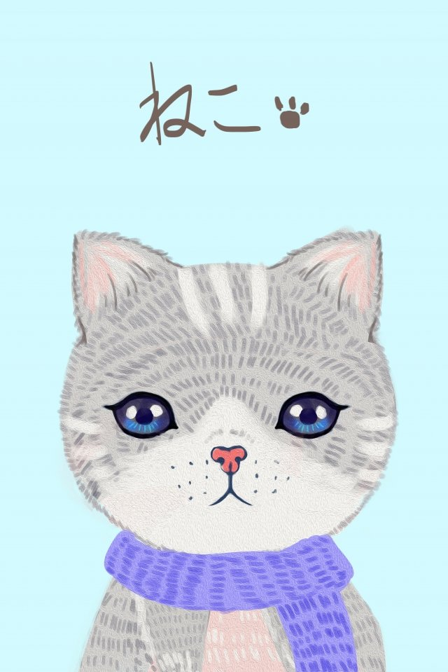 cat cure cute pet lovely, Hand Painted, Color Lead, Cat illustration image