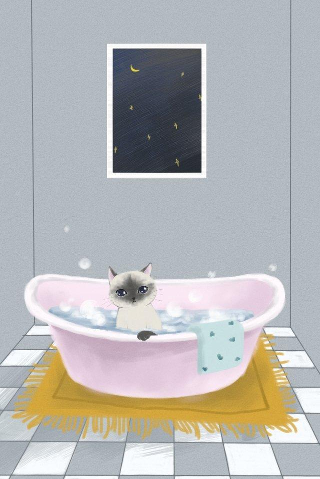 cat cute pet bubble bath lovely, Cat, Cute Pet, Bubble Bath illustration image