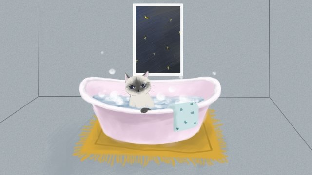 chat mignonne pet bain moussant image d'illustration