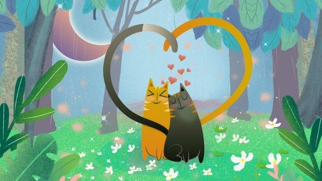 고양이 숲 나무 초원 삽화 소재 삽화 이미지