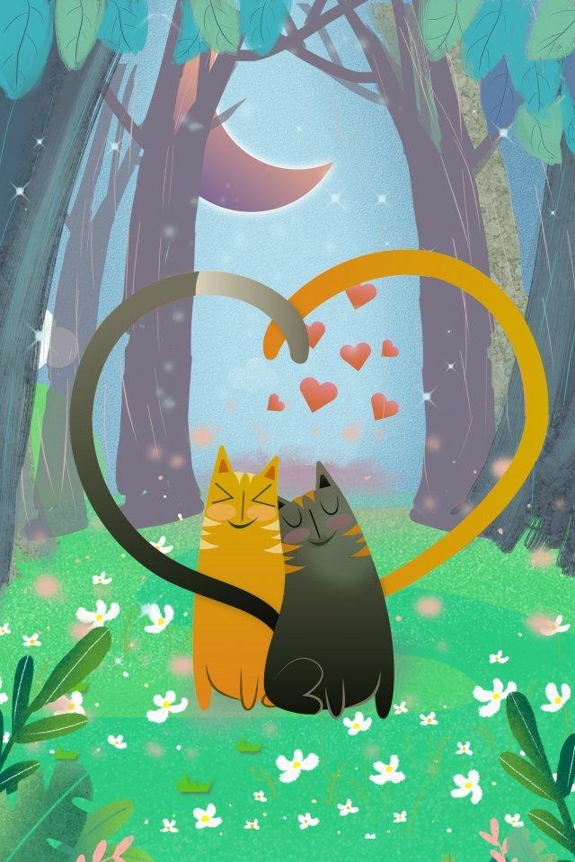 고양이 숲 나무 초원 삽화 소재