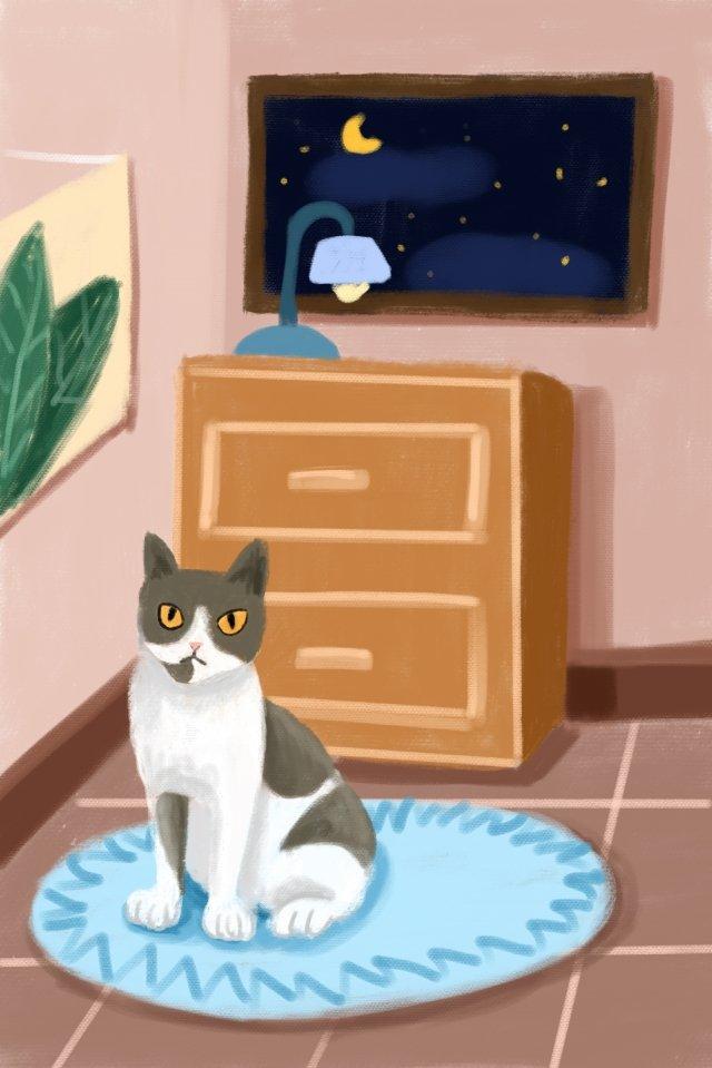 고양이 손으로 그려진 파란색 고양이 귀여운 애완 동물 삽화 소재