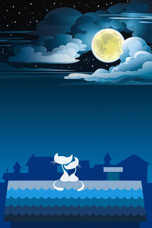 cat moon cloud dark night illustration image