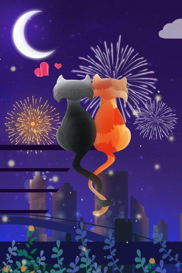 gato noite amor tanabata Material de ilustração