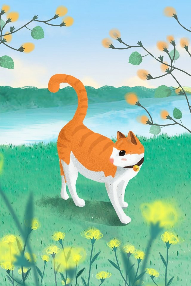 cat play spring warm hand painted, Lakeside, Grassland, Orange Cat illustration image