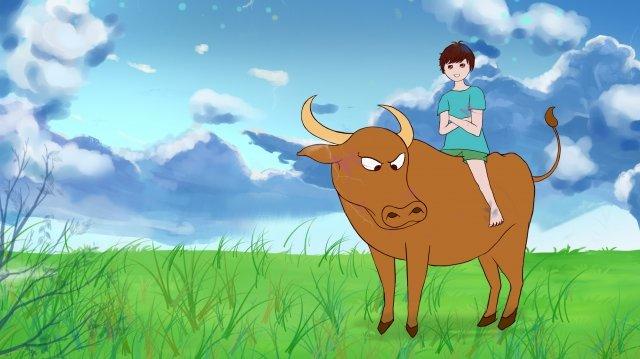 牛男孩農村生活 插畫素材 插畫圖片