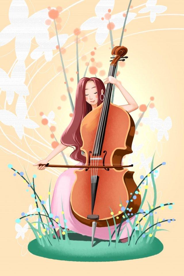 大提琴樂器音樂女孩 插畫素材