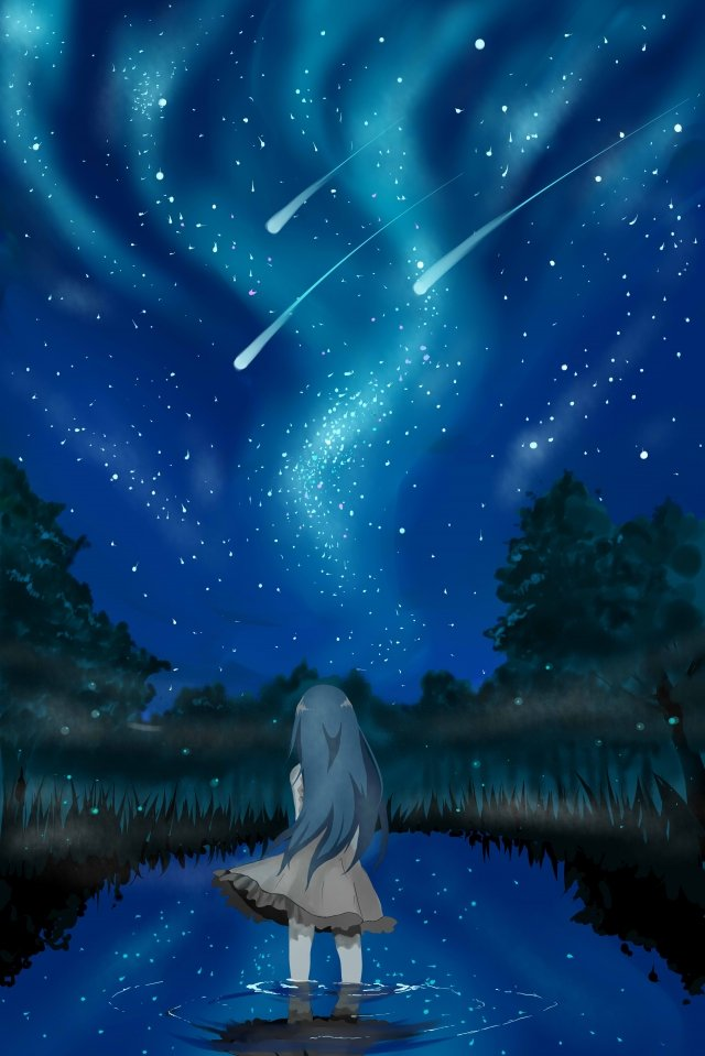 character starry sky silhouette forest, Galaxy, Teenage Girl, Character illustration image