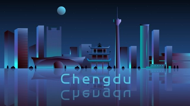 chengdu night view light gradient, Technology, Chengdu, Night View illustration image