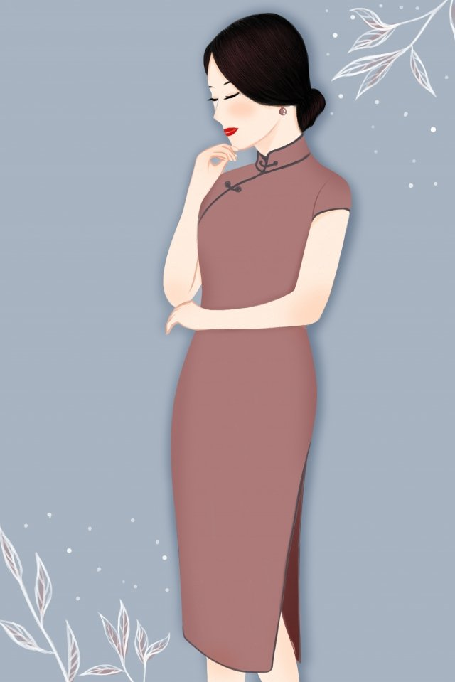 cheongsam girl woman dina, Traditional Clothing, Chinese Style, Cheongsam illustration image
