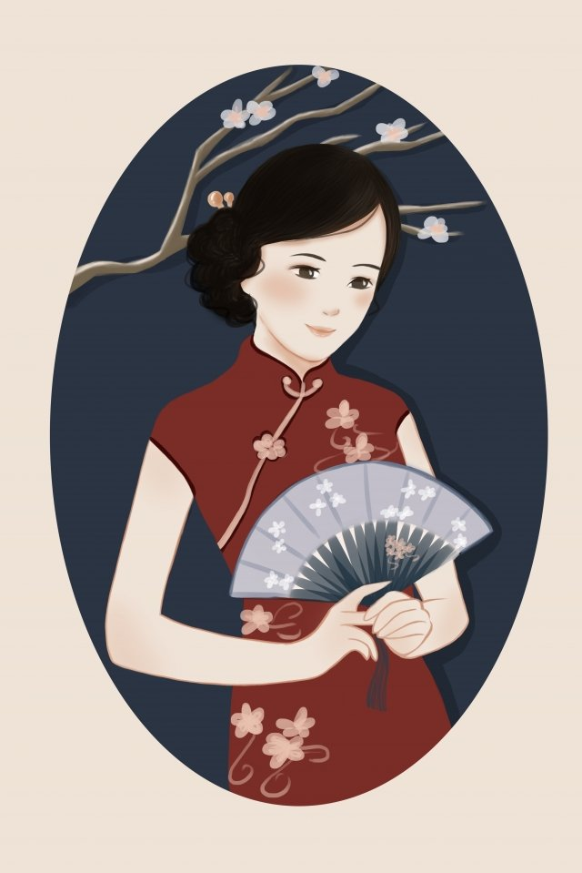 cheongsam ms charming traditional clothing, Charm, Red Wine, Flowers illustration image