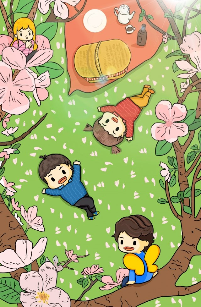cherry blossom season cherry blossoms beautiful cherry blossom season spring, Outing, Picnic, Elf illustration image