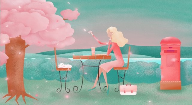 cherry blossoms elf illuminate cat, Girl, River Bank, Magic illustration image