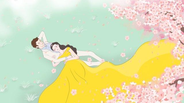 桜の木甘いカップルイラストピンクの桜 イラスト素材 イラスト画像