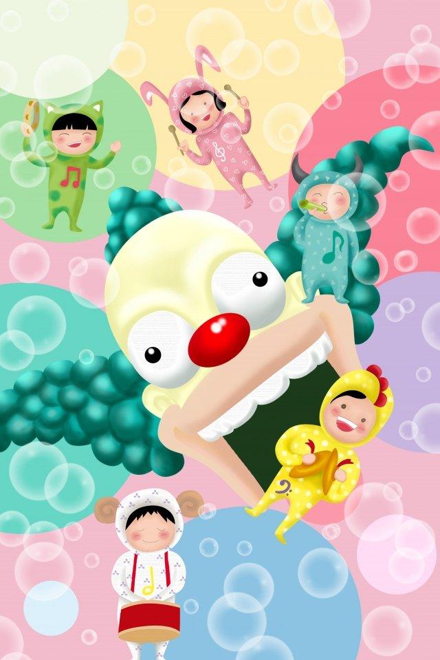 child amusement park bubble child llustration image