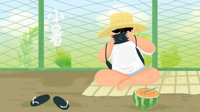 兒童相機小熱西瓜 插畫素材 插畫圖片
