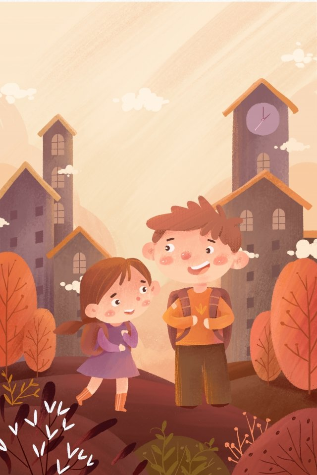 child cartoon school season poster illustration image