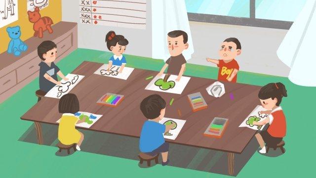 child drawing kindergarten education llustration image