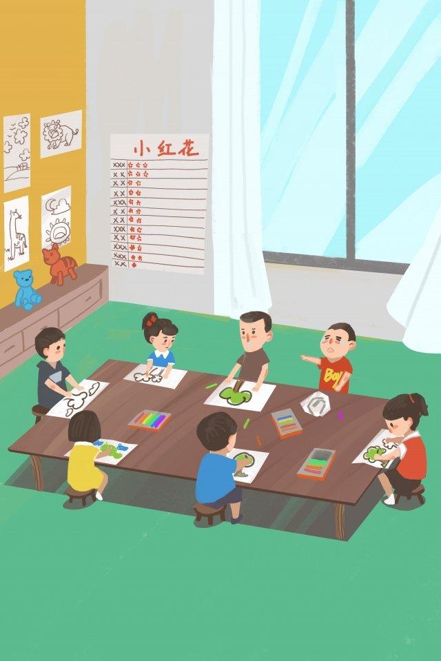child drawing kindergarten education illustration image
