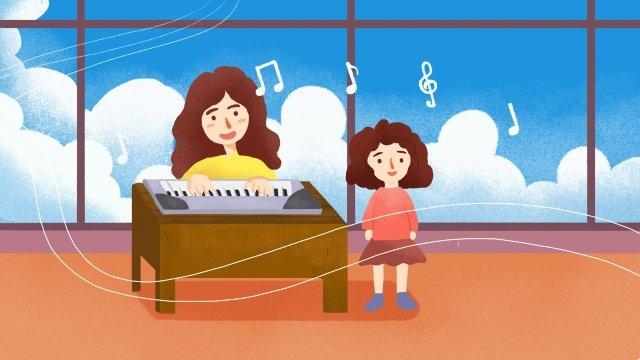बाल शिक्षा चित्रण गाओ कीबोर्ड चित्रण छवि