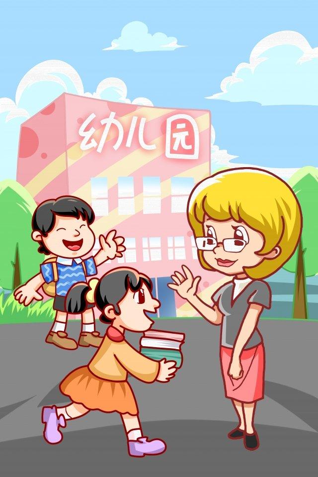 educação infantil jardim de infância pintado à mão Material de ilustração Imagens de ilustração