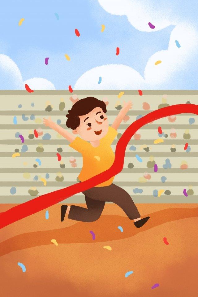 어린이 교육 경주 동작 실행 삽화 소재