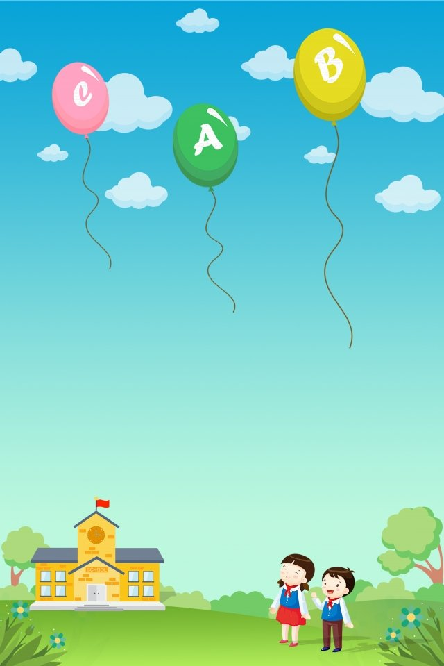child education recognize letters balloon, School, Sky, White Clouds illustration image