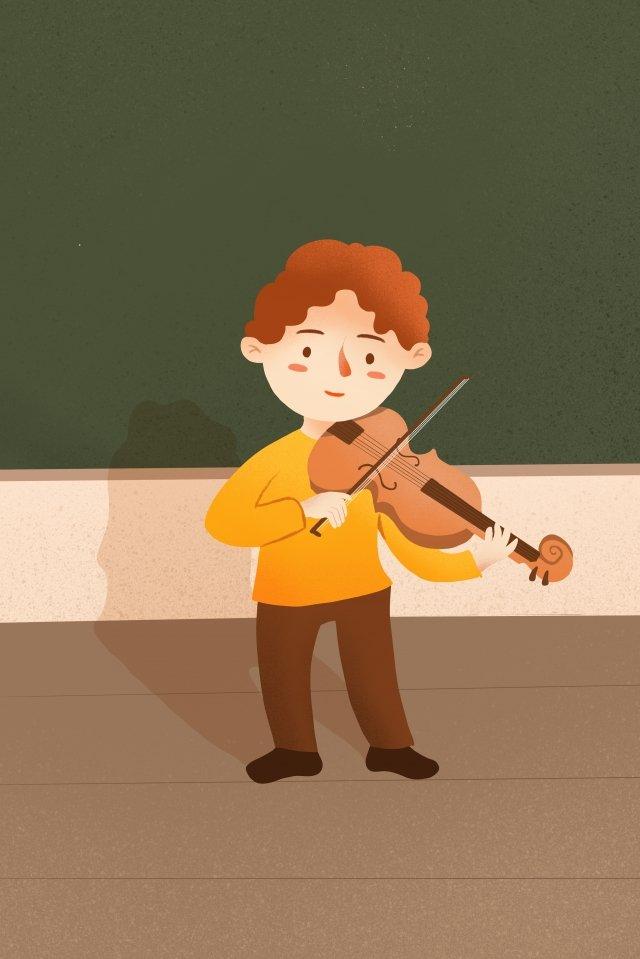 子供の教育演奏ヴァイオリンイラストレーション 子どもの教育 バイオリン 音楽 イラスト イラスト 芸術を学ぶ子どもの教育  バイオリン  音楽 PNGおよびPSD illustration image