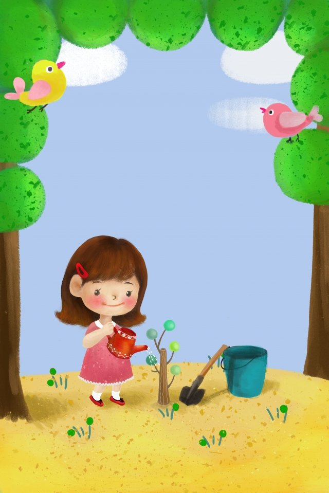 child illustration planting trees background llustration image illustration image