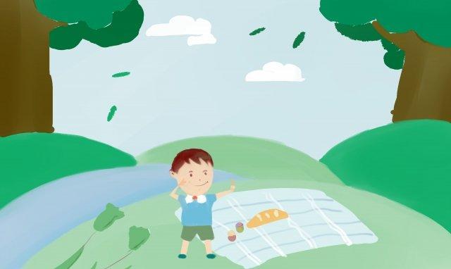 子供のピクニック イラスト素材 イラスト画像