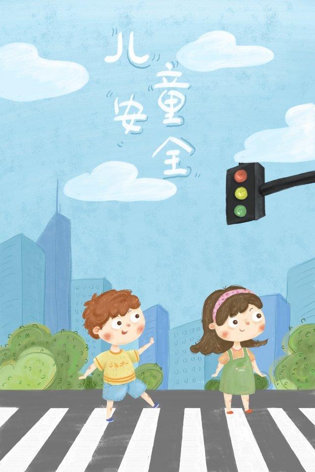 子供の交通安全手描きイラスト こども 交通安全 道を渡る 信号機子供の交通安全手描きイラスト  こども  交通安全 PNGおよびPSD illustration image