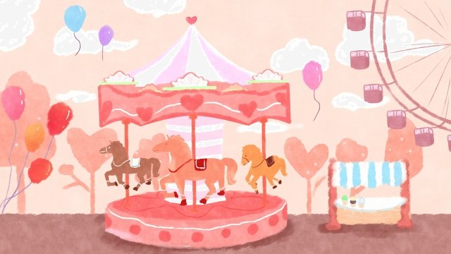 childlike child amusement park carousel llustration image illustration image