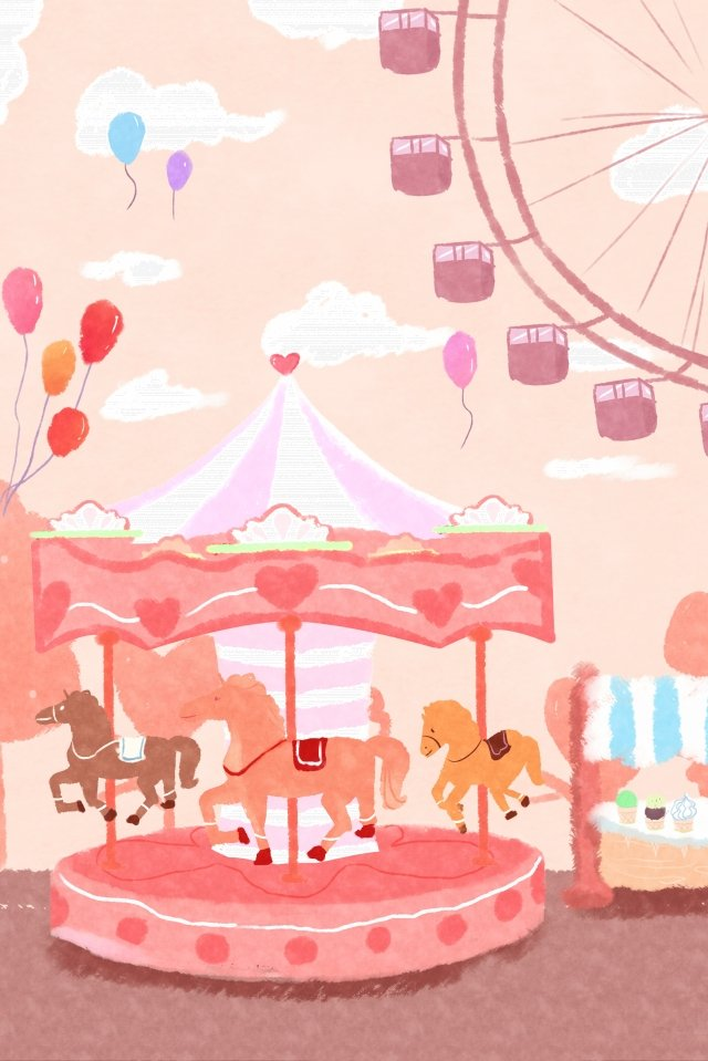 childlike child amusement park carousel llustration image