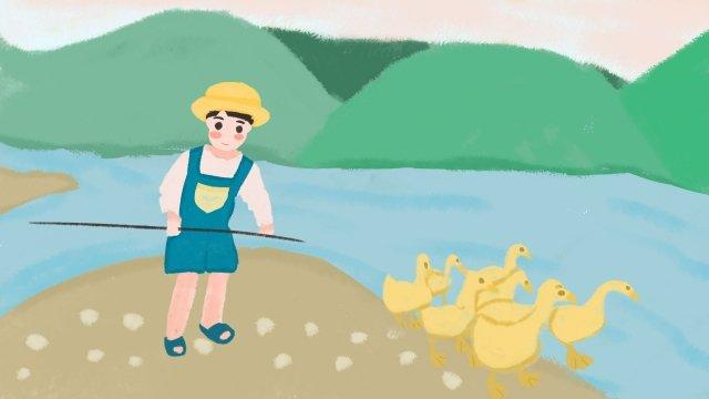 子供農村アヒル農場の仕事 イラスト素材
